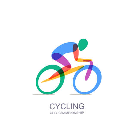 Ilustración de Vector cycling logo, icon, emblem design template. Human silhouette on colorful bike, overlapping isolated illustration. Concept for marathon, race, competition, healthy lifestyle and outdoor sports. - Imagen libre de derechos