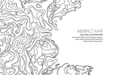 Illustration pour Vector abstract contour topographic map. Outline black white landscape background with copy space. Topography, geodesy line texture. - image libre de droit