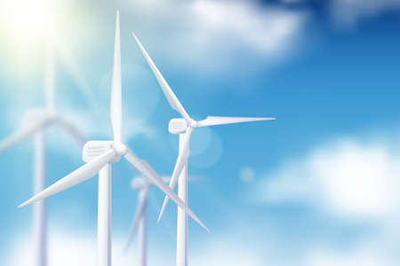 Illustration pour Vector realistic 3d illustration of wind turbine generator against blue cloudy sky. Alternative eco energy technologies and environmental business concept. - image libre de droit