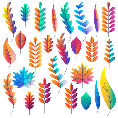 Ilustración de Vector set of color gradients autumn leaves. Fantasy plants icons and design elements. Fall cartoon illustration. - Imagen libre de derechos