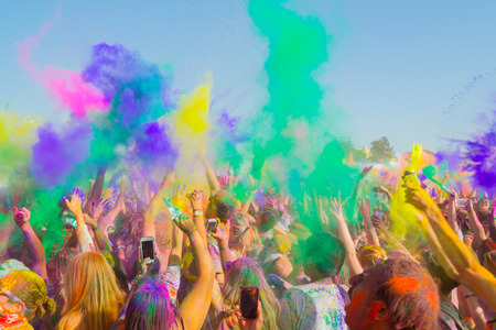 Photo for Norwalk, California, USA - March 7, 2015: People celebrating during the color throw at the Holi Festival of Colors - Royalty Free Image