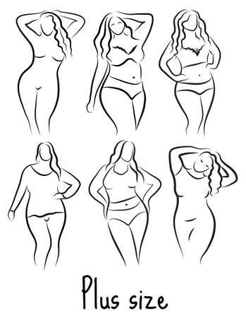 Illustrazione per Plus size model woman sketch. Hand drawing style. Curvy body icon design. Vector illustration - Immagini Royalty Free