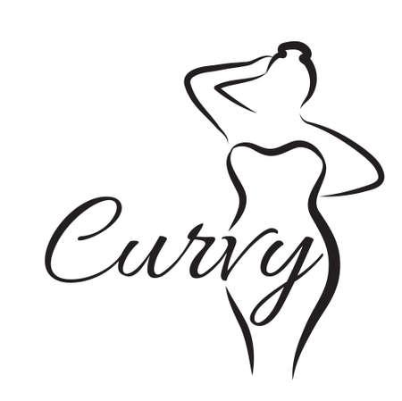 Illustrazione per plus size woman. Curvy woman symbol. Vector illustration - Immagini Royalty Free