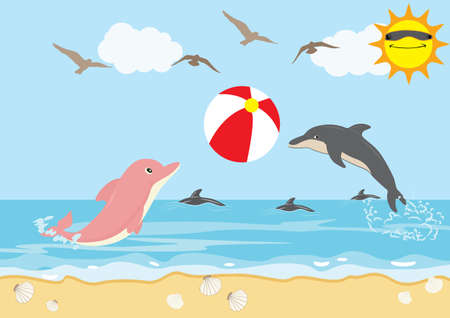 Illustration pour Summer Holiday with Dolphins Play Ball Beach - image libre de droit