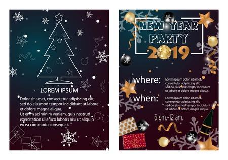 Foto für 2019 Happy New Year Card or Christmas themed invitations - Lizenzfreies Bild
