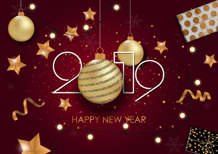 Ilustración de Happy New Year 2019 Card for your design. Vector illustration - Imagen libre de derechos