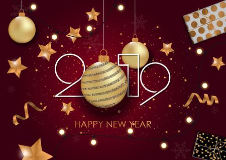 Illustration pour Happy New Year 2019 Card for your design. Vector illustration - image libre de droit