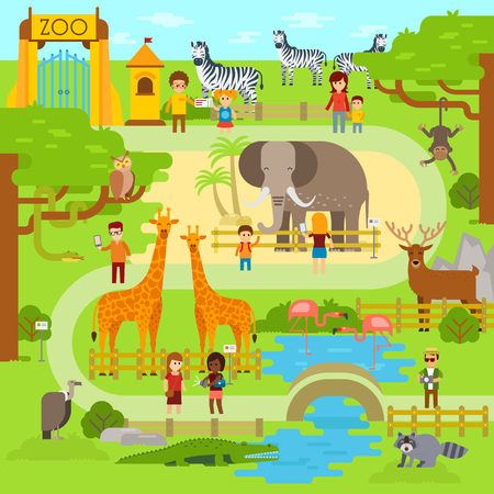 Illustration pour Zoo vector flat illustration. Animals vector flat design. Zoo infographic with elephant. People walk in the park, zoo. Zoo map, banner - image libre de droit