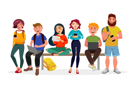 Ilustración de Young people gather together with gadgets. Youth spending time, walking, working and smiling. Men and women in casual style vector flat illustration with bright colours, isolated on white background. - Imagen libre de derechos