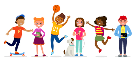 Illustration pour Funny children cartoon characters vector illustration in flat design. Girls and boys doing activities, walking, jumping, having fun. Kids different races isolated on white background. - image libre de droit