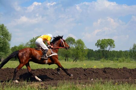 The young horseman on horseback. Traditional horse racing in Bashkortostan on holiday sabantuy