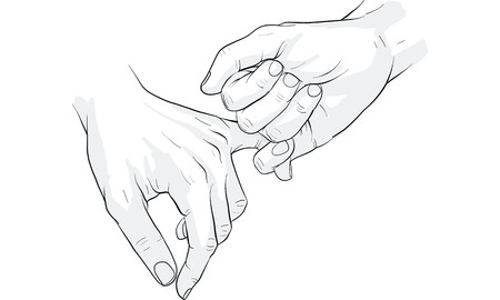 Illustration for hand holding little finger vector - Royalty Free Image