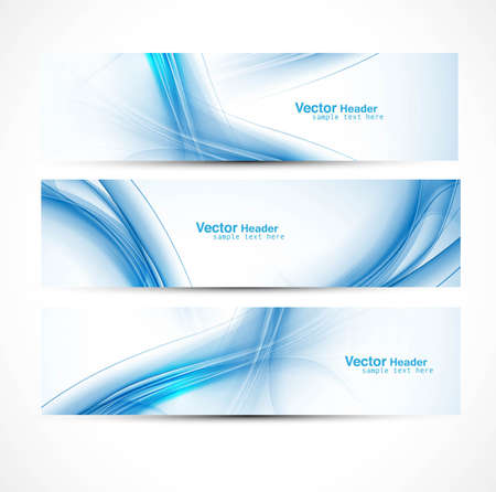Illustration pour abstract new wave three header set banners vector illustration - image libre de droit