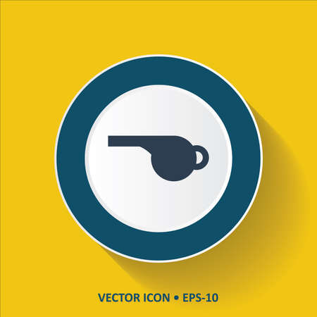 Blue vector Icon of Whistle on Yellow Color Background with Long Shadow. Eps.10.