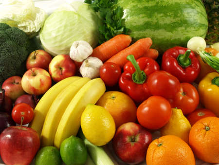 A lot of fresh and natural vegetables and fruits