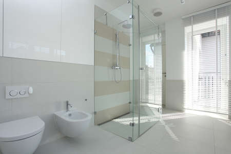Interior of spacious, bright and modern bathroom