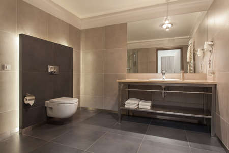 Woodland hotel - Interior of a modern grey bathroom