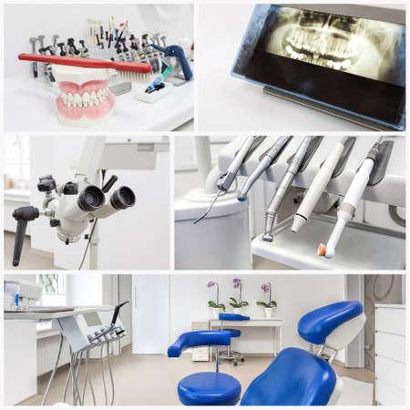 Foto de Collage of dentist's equipment in a modern office - Imagen libre de derechos
