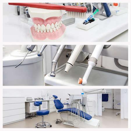 Foto de Jaw, drillers and a dental seat, collage - Imagen libre de derechos