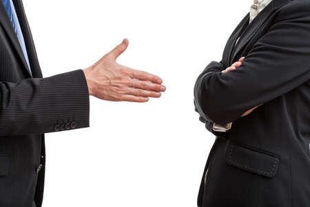 Photo pour Try of handshaking between two work partners - image libre de droit
