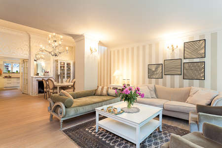 Photo pour Vintage mansion - a stylish ground floor apartment in beige - image libre de droit