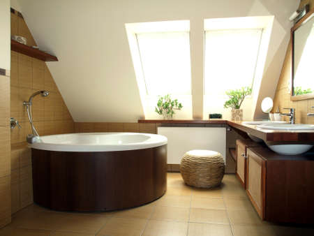 Cosy brown and white bathroom in the loft