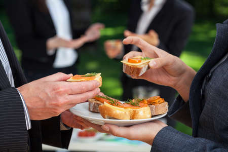 Foto de Small sandwiches on office meal during the lunch - Imagen libre de derechos