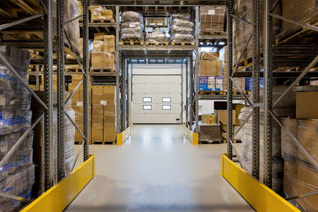 Photo for Entrance to a huge warehouse with metal rack - Royalty Free Image