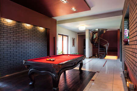 Photo for Billard table in the hall of private interior - Royalty Free Image