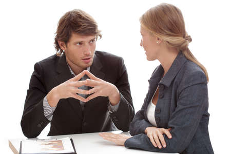 Photo for A relaxed conversation of a man and a woman in the office - Royalty Free Image