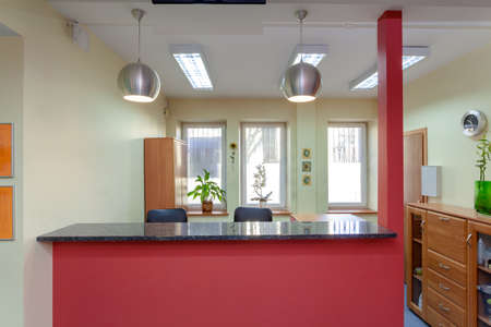 Photo for Reception desk in small medical clinic, horizontal - Royalty Free Image