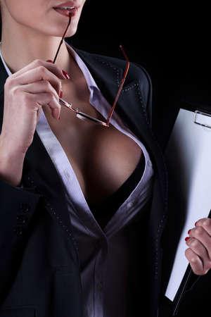 Foto de View of a sexy secretary with beautiful breast - Imagen libre de derechos