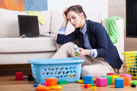 Photo pour Working woman after long day sitting at home - image libre de droit