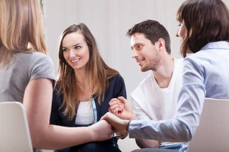 Foto de Young people happy and satisfied on group therapy for addicted - Imagen libre de derechos