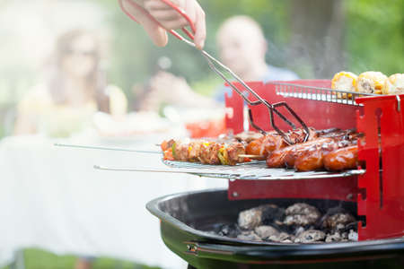 Photo pour Horizontal view of grilling in a garden - image libre de droit