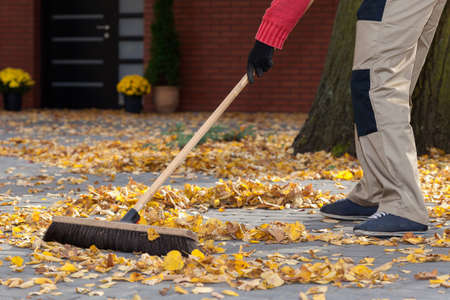 Photo for A man sweeping leaves from his terrace - Royalty Free Image