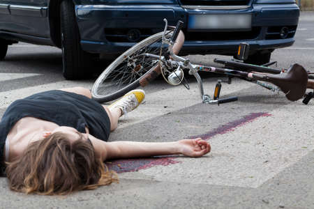 Photo for View of accident on the pedestrian crossing - Royalty Free Image