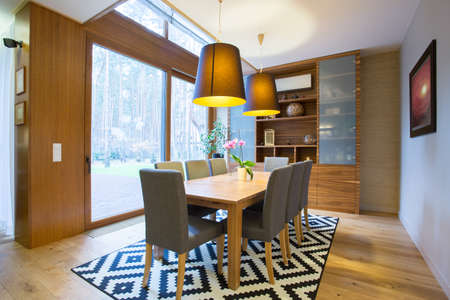 Photo pour View of dining area inside modern house - image libre de droit