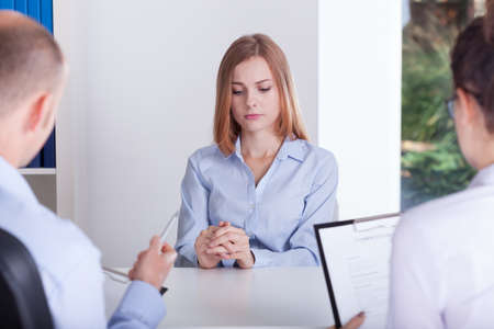 Photo for The girl is stressing on the job interview - Royalty Free Image