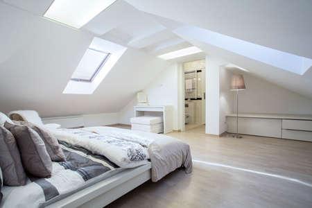 Foto de Spacious and fashionable bedroom connected with bathroom - Imagen libre de derechos