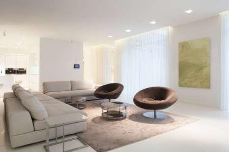 Photo pour Living room furniture in modern house, horizontal - image libre de droit