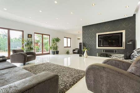Photo pour Enormous living room in expensive house, horizontal - image libre de droit