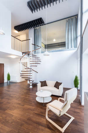 Photo for Fancy curly stairs in new elegant apartment - Royalty Free Image