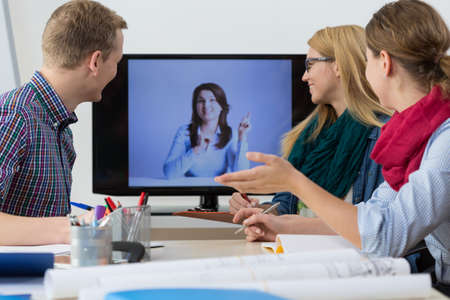 Photo pour Web conference - business people having online meeting - image libre de droit