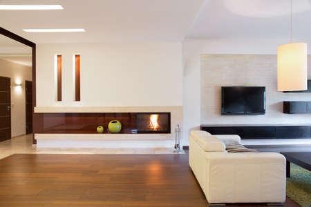 Photo pour View of open living room with a fireplace - image libre de droit