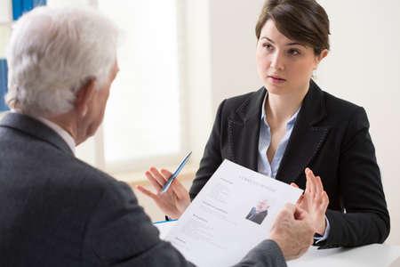 Photo pour Elderly elegant man on his recruitment meeting - image libre de droit