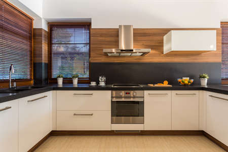 Foto für Horizontal view of modern furniture in luxury kitchen - Lizenzfreies Bild