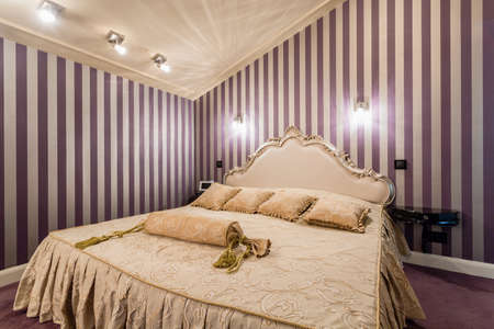 Photo for Romantic bedroom with bed in baroque style - Royalty Free Image