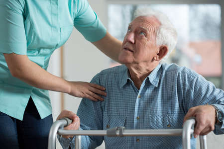 Foto de Portrait of disabled senior in care home - Imagen libre de derechos