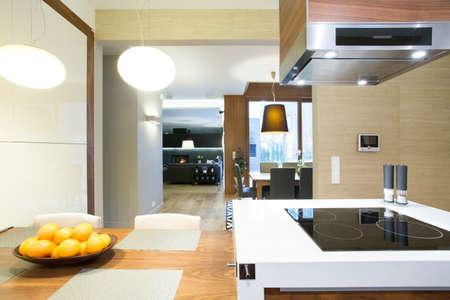 Photo pour Open space with kitchen in modern apartment - image libre de droit